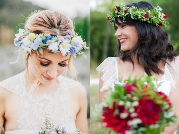 tiara de flores e bouquet
